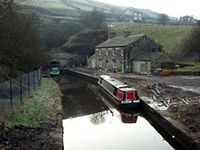 Standedge Tunnel - Marsden end. The building to the right is now the Waters Edge licensed restaurant.