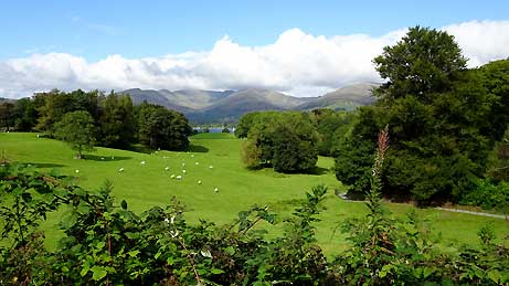 Windermere and the Lakeland Fells from Wray Castle, Cumbria (OS Grid Ref. NY374010 Nearest Post Code LA22 0JA)