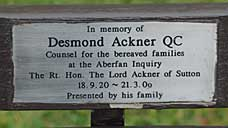 The plaque to Desmond Ackner, counsel for the bereaved families in the Aberfan inquiry