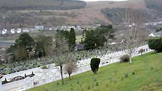 Aberfan Cemetery - the children's graves are visible from across the valley