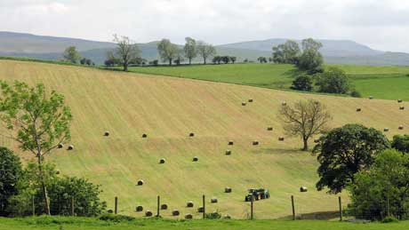 Haymaking at Brough Castle, Cumbria (OS Grid Ref. NY791140 Nearest Post Code CA17 4EJ)
