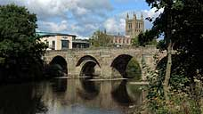 Hereford Cathedral & the River Wye (OS Grid Ref. SO507395 - Nearest Post Code HR2 7RE)