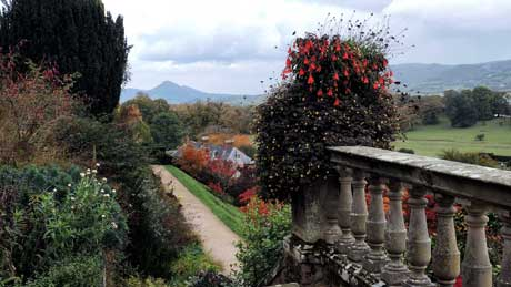 The view from the top terrace at Powis Castle, Welshpool (OS Grid Ref. SJ215064 Nearest Post Code SY21 8RG )