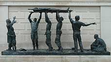 'The Stretcher Bearers' : sculpture at the National Memorial Arboretum, Staffordshire (OS Grid Ref. SK184144)